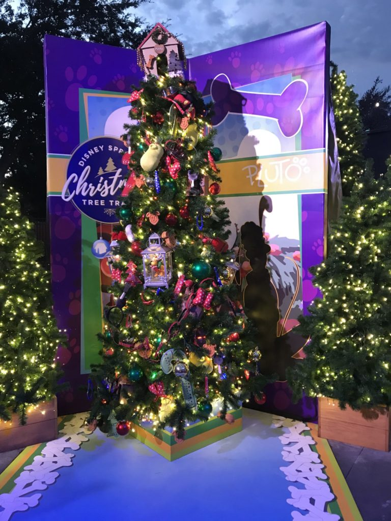 Pluto Mickey at Minnie Disney Christmas Tree Trail at Disney Springs