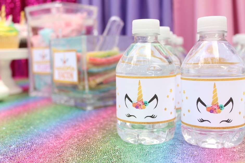 graphic about Free Printable Water Bottle Labels for Birthday titled Unicorn Birthday Occasion Plans with Absolutely free Printable Down load