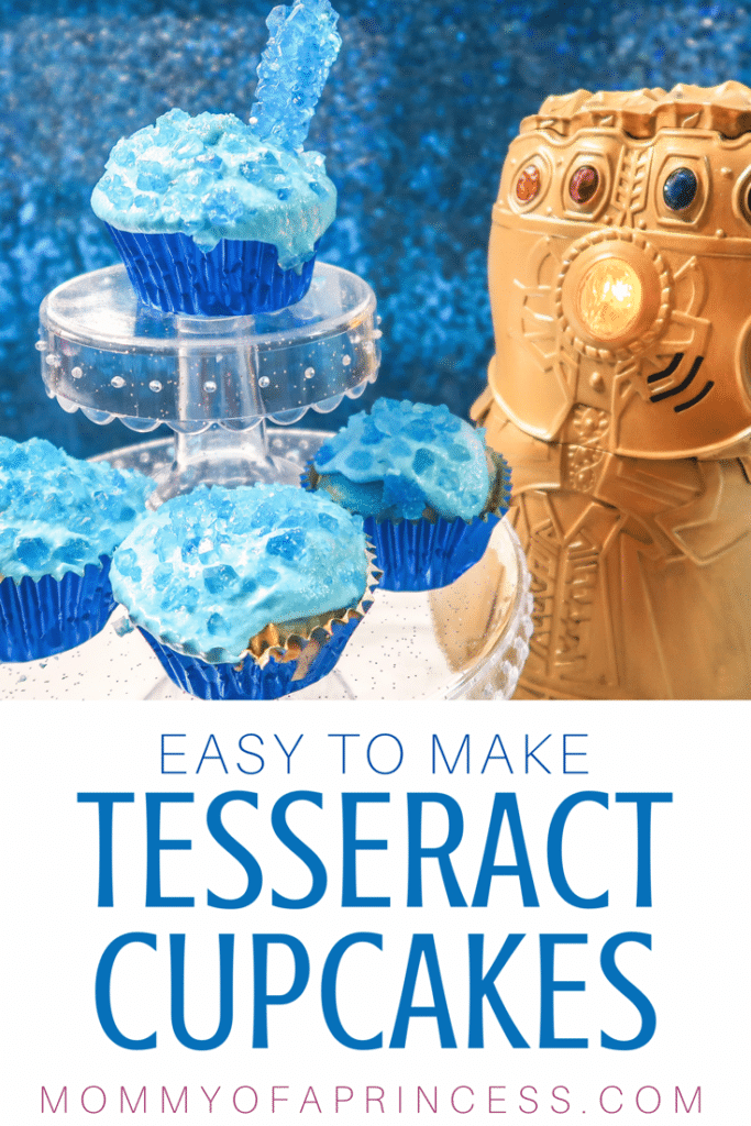 Easy to make Tesseract Cupcakes for Avenger Birthday Party. One of many Avengers food products to help make your party EPIC! Check out this easy Avengers Infinity War recipes and Avengers Endgame Recipes for inspiration.