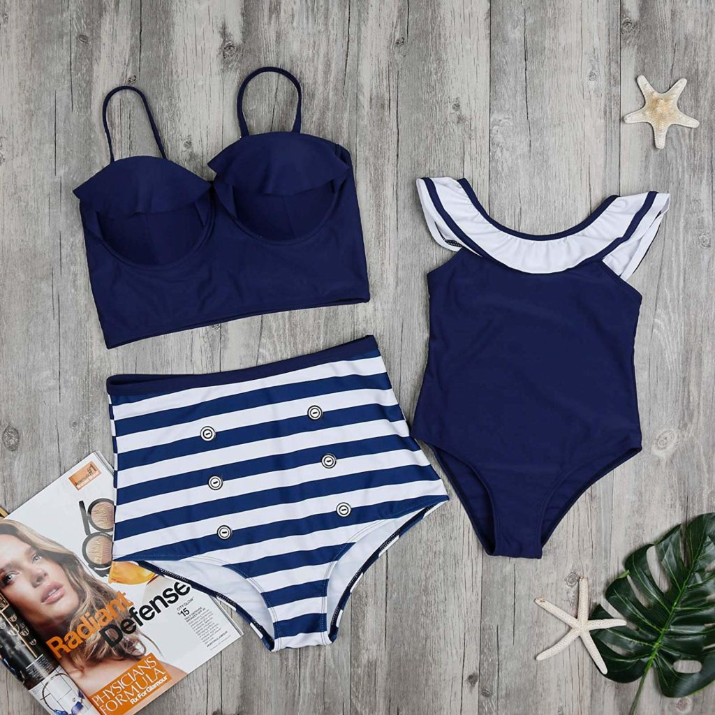 e2ff8fd40dc9a Navy Striped Two Piece Mommy and Me Swimsuit $16.99